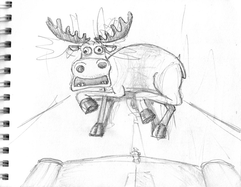 scared moose